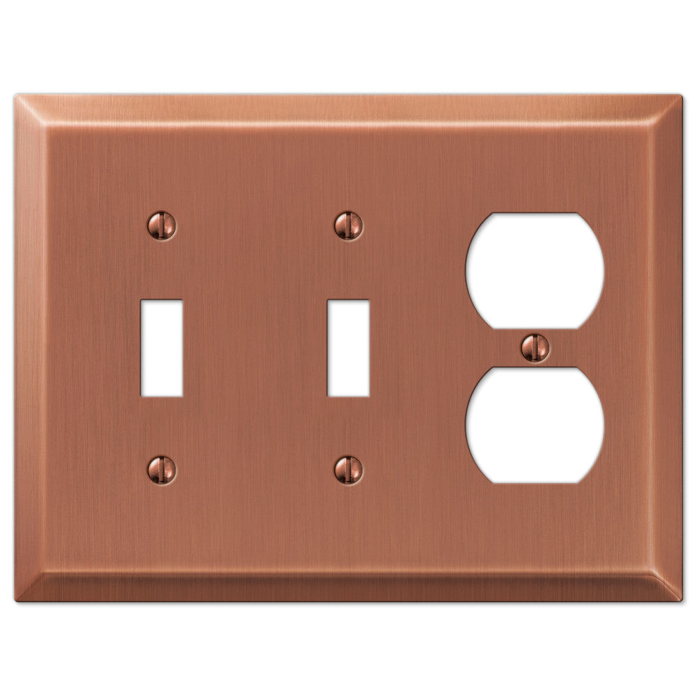 Century Antique Copper Steel - 2 Toggle / 1 Duplex Outlet Wallplate - Wallplate Warehouse