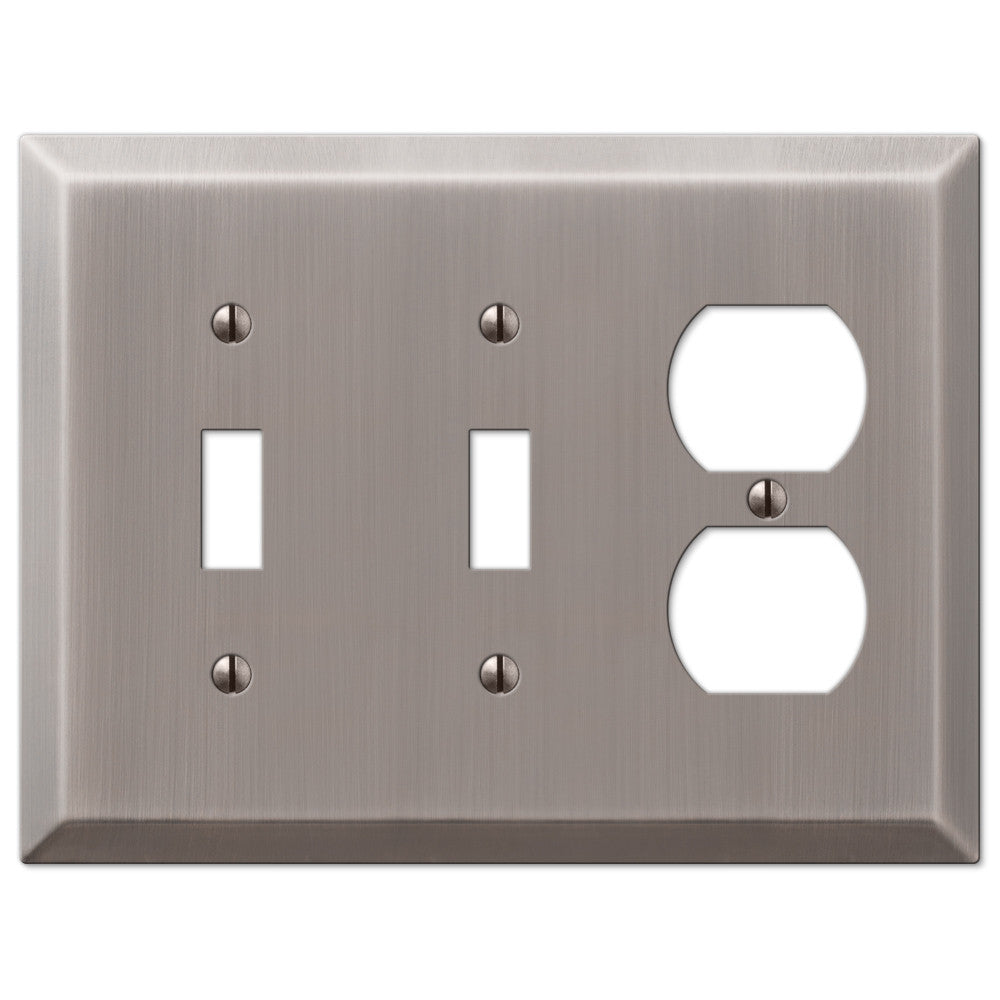 Century Antique Nickel Steel - 2 Toggle / 1 Duplex Outlet Wallplate - Wallplate Warehouse