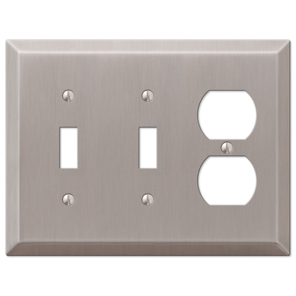 Century Brushed Nickel Steel - 2 Toggle / 1 Duplex Outlet Wallplate - Wallplate Warehouse