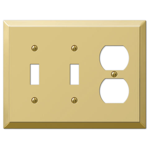 Century Polished Brass Steel - 2 Toggle / 1 Duplex Outlet Wallplate - Wallplate Warehouse