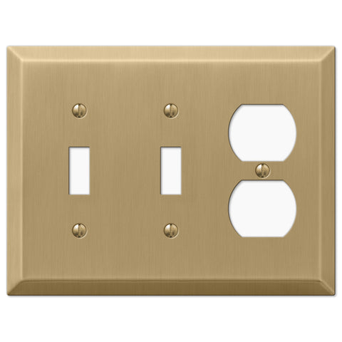Century Brushed Bronze Steel - 2 Toggle / 1 Duplex Outlet Wallplate - Wallplate Warehouse