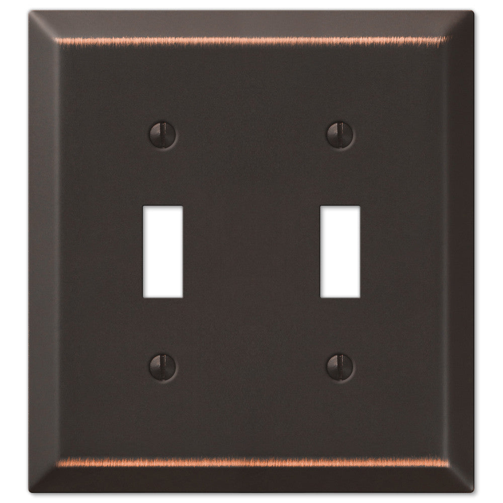 Century Aged Bronze Steel - 2 Toggle Wallplate - Wallplate Warehouse