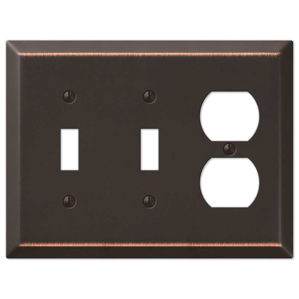 Century Aged Bronze Steel - 2 Toggle / 1 Duplex Outlet Wallplate - Wallplate Warehouse