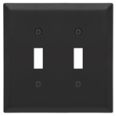 Century Matte Black Steel - 2 Toggle Wallplate