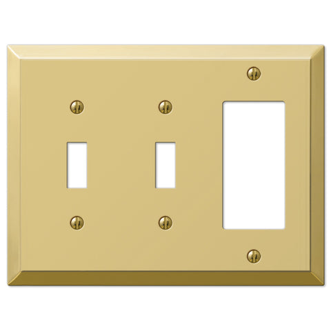 Century Polished Brass Steel - 2 Toggle / 1 Rocker Wallplate - Wallplate Warehouse