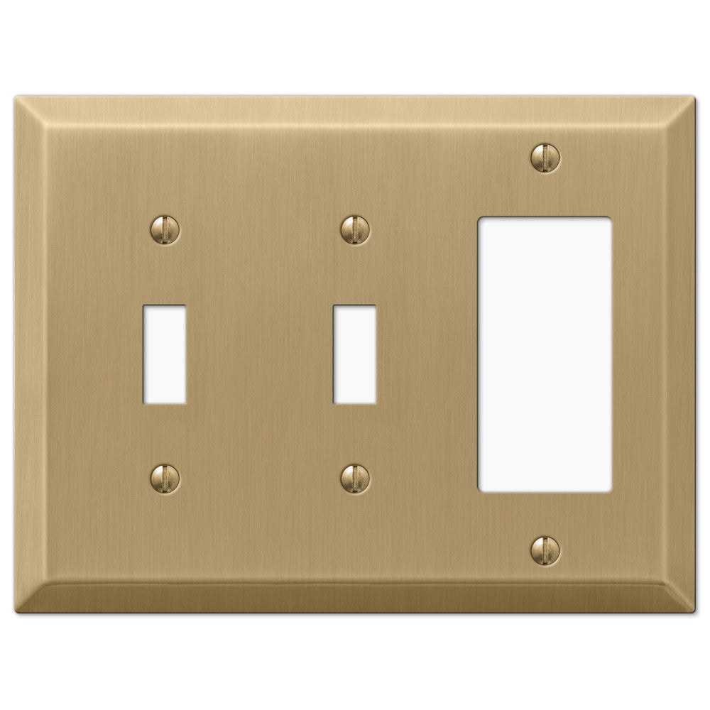 Century Brushed Bronze Steel - 2 Toggle / 1 Rocker Wallplate - Wallplate Warehouse