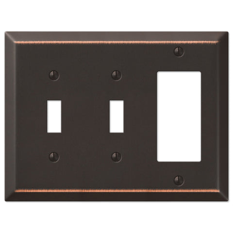 Century Aged Bronze Steel - 2 Toggle / 1 Rocker Wallplate - Wallplate Warehouse