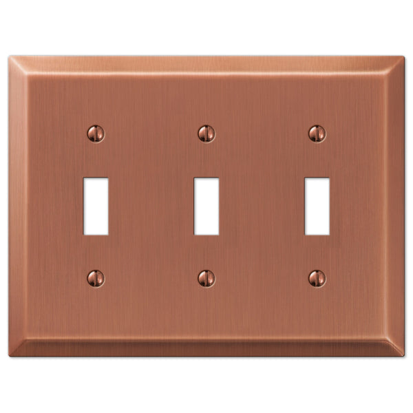 Century Antique Copper Steel - 3 Toggle Wallplate - Wallplate Warehouse