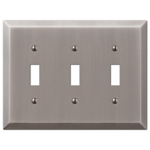 Century Antique Nickel Steel - 3 Toggle Wallplate - Wallplate Warehouse