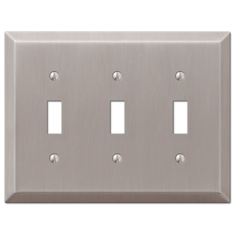 Century Brushed Nickel Steel - 3 Toggle Wallplate - Wallplate Warehouse
