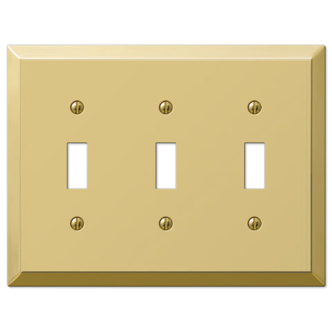 Century Polished Brass Steel - 3 Toggle Wallplate - Wallplate Warehouse