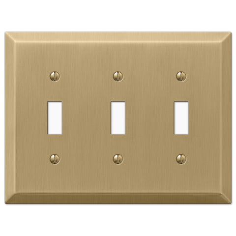 Century Brushed Bronze Steel - 3 Toggle Wallplate - Wallplate Warehouse
