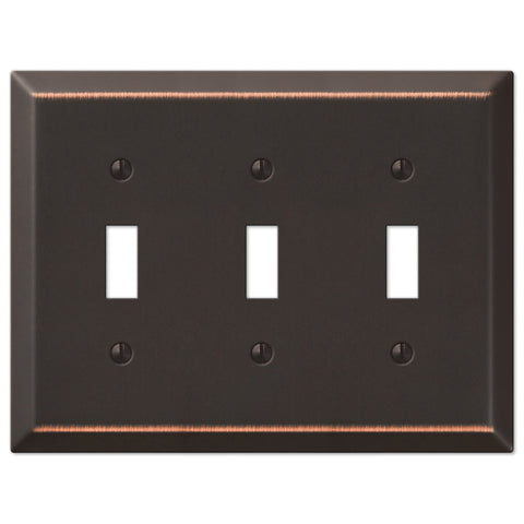 Century Aged Bronze Steel - 3 Toggle Wallplate - Wallplate Warehouse