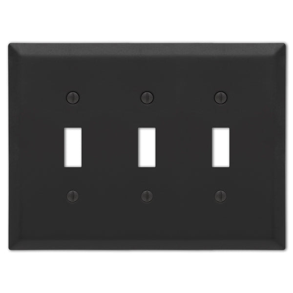 Century Matte Black Steel - 3 Toggle  Wallplate