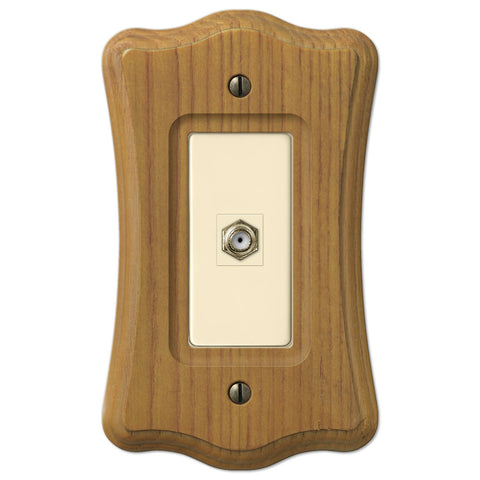 Austin Medium Oak Finish - 1 Cable Jack Wallplate - Wallplate Warehouse