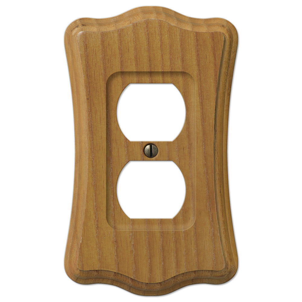 Austin Medium Oak Finish - 1 Duplex Outlet Wallplate - Wallplate Warehouse