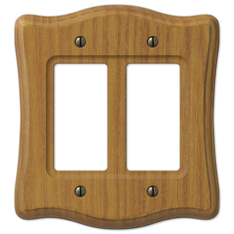 Austin Medium Oak Finish - 2 Rocker Wallplate - Wallplate Warehouse
