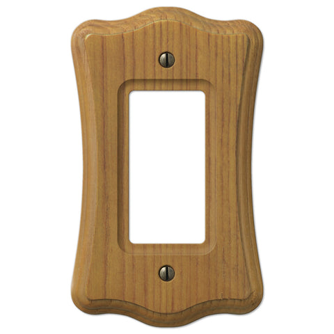 Austin Medium Oak Finish - 1 Rocker Wallplate - Wallplate Warehouse
