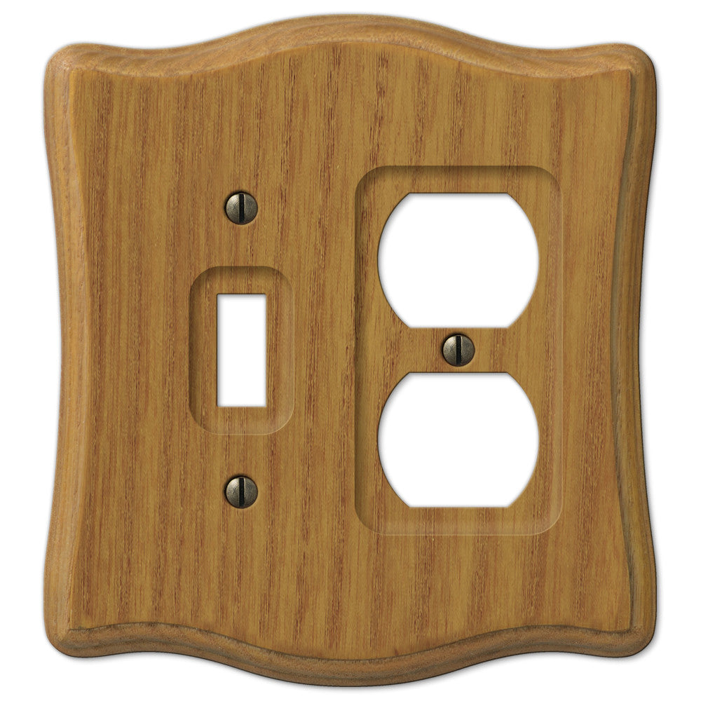 Austin Medium Oak Finish - 1 Toggle / 1 Duplex Outlet Wallplate - Wallplate Warehouse