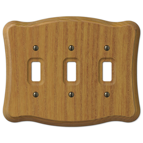 Austin Medium Oak Finish - 3 Toggle Wallplate - Wallplate Warehouse