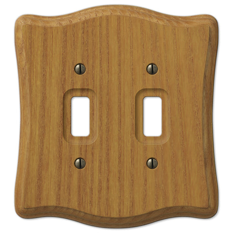 Austin Medium Oak Finish - 2 Toggle Wallplate - Wallplate Warehouse