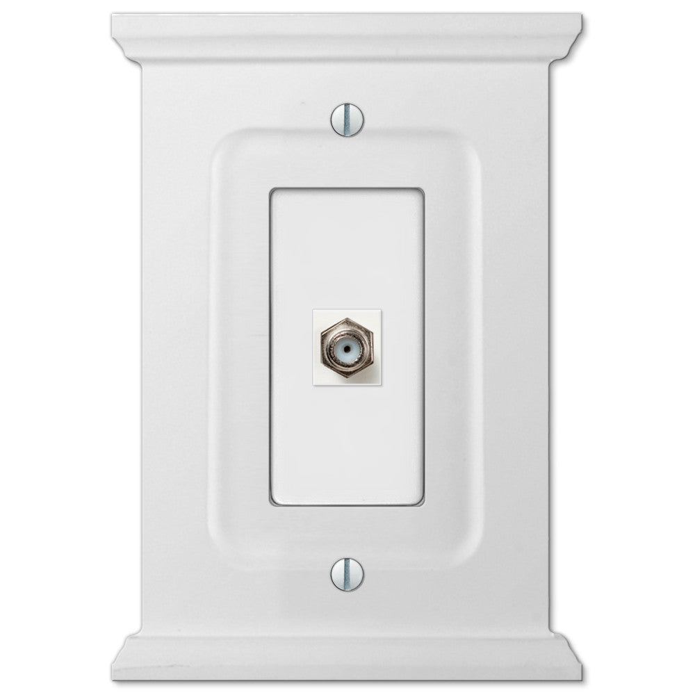 Mantel White Wood - 1 Cable Jack Wallplate - Wallplate Warehouse