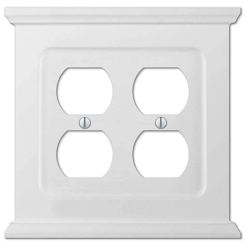Mantel White Wood - 2 Duplex Outlet Wallplate - Wallplate Warehouse