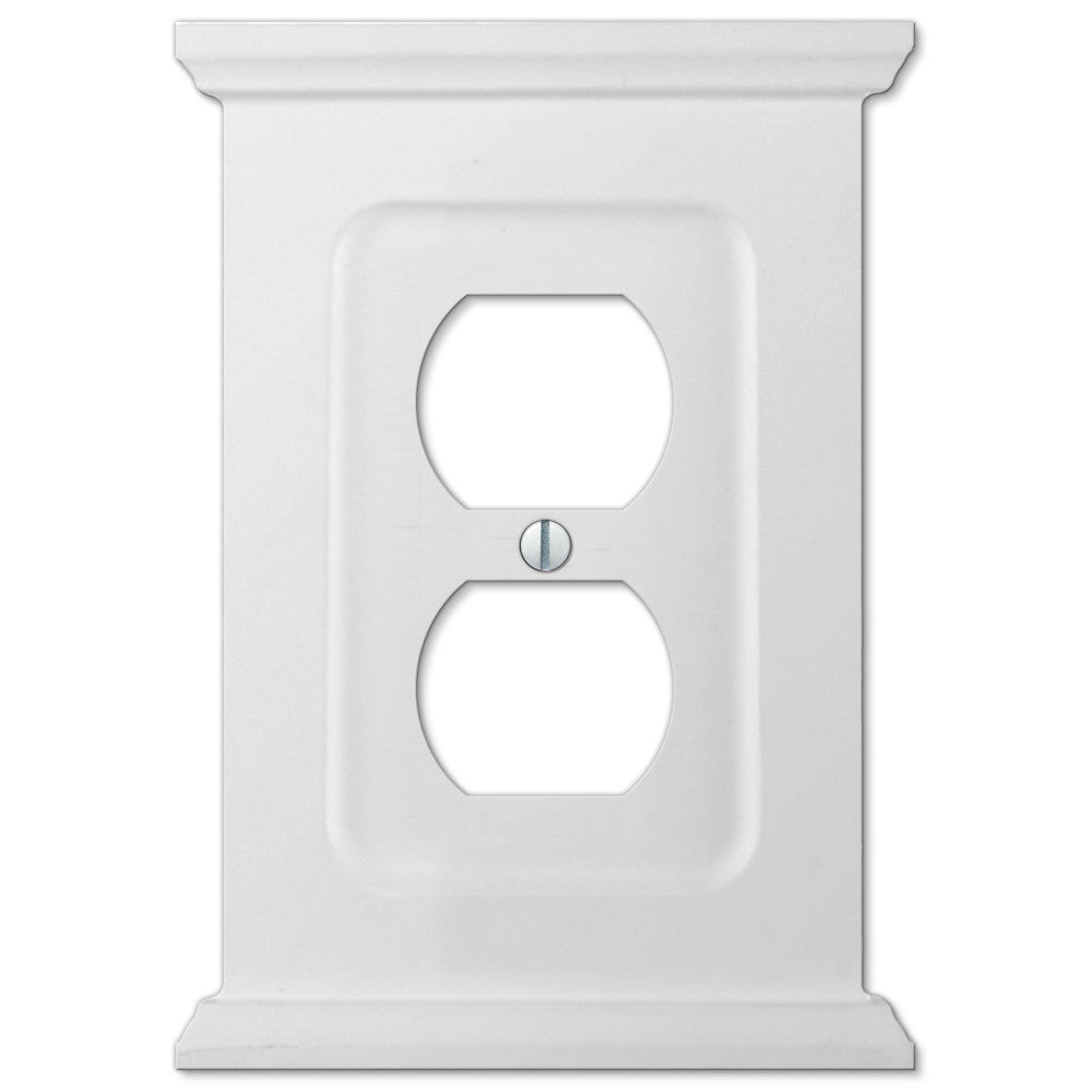 Mantel White Wood - 1 Duplex Outlet Wallplate - Wallplate Warehouse
