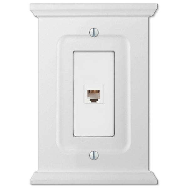 Mantel White Wood - 1 Phone Jack Wallplate - Wallplate Warehouse
