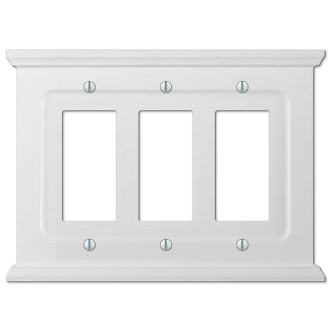 Mantel White Wood - 3 Rocker Wallplate - Wallplate Warehouse