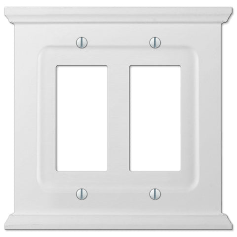 Mantel White Wood - 2 Rocker Wallplate - Wallplate Warehouse