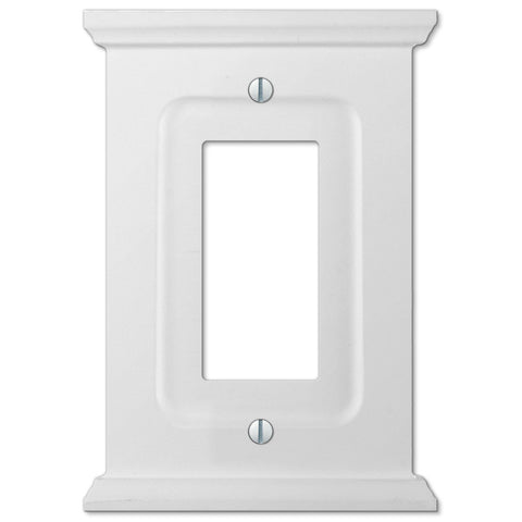 Mantel White Wood - 1 Rocker Wallplate - Wallplate Warehouse