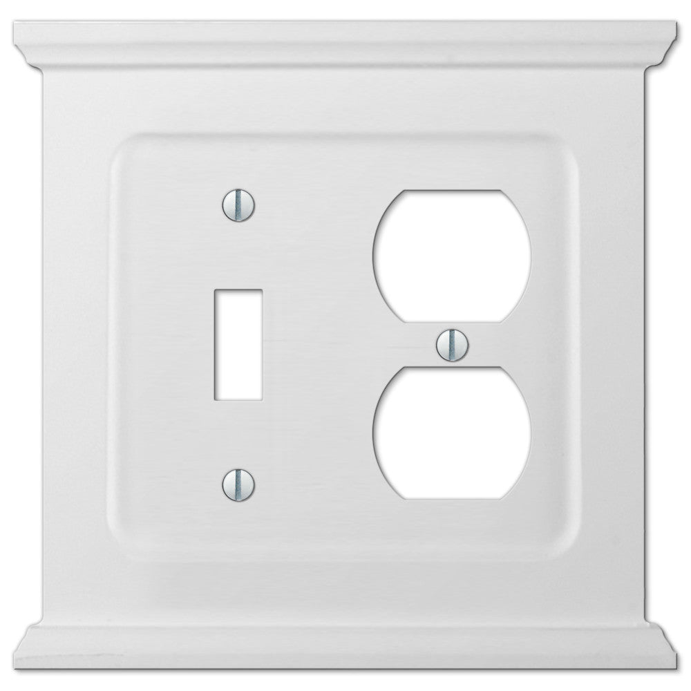Mantel White Wood - 1 Toggle / 1 Duplex Outlet Wallplate - Wallplate Warehouse