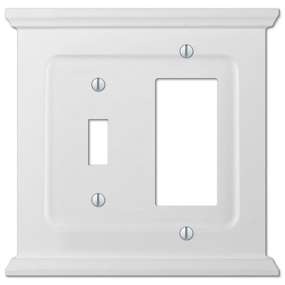 Mantel White Wood - 1 Toggle / 1 Rocker Wallplate - Wallplate Warehouse