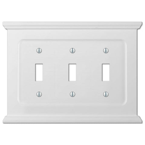 Mantel White Wood - 3 Toggle Wallplate - Wallplate Warehouse