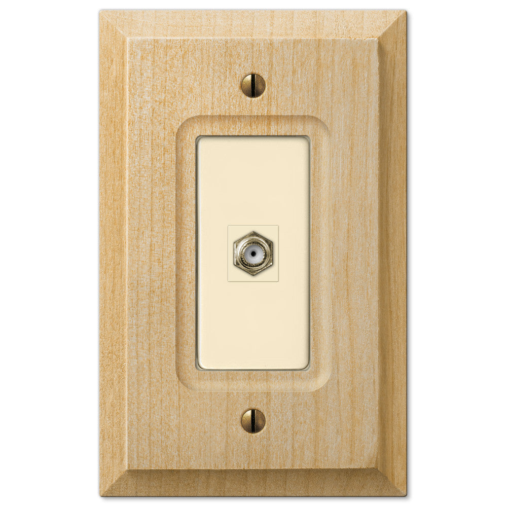 Baker Unfinished Alder Wood - 1 Cable Jack Wallplate - Wallplate Warehouse