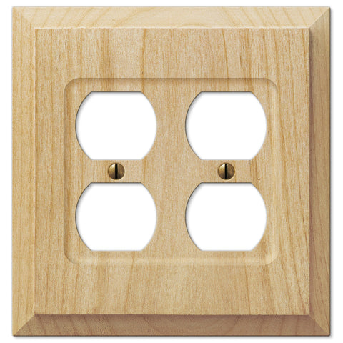 Baker Unfinished Alder Wood - 2 Duplex Outlet Wallplate - Wallplate Warehouse