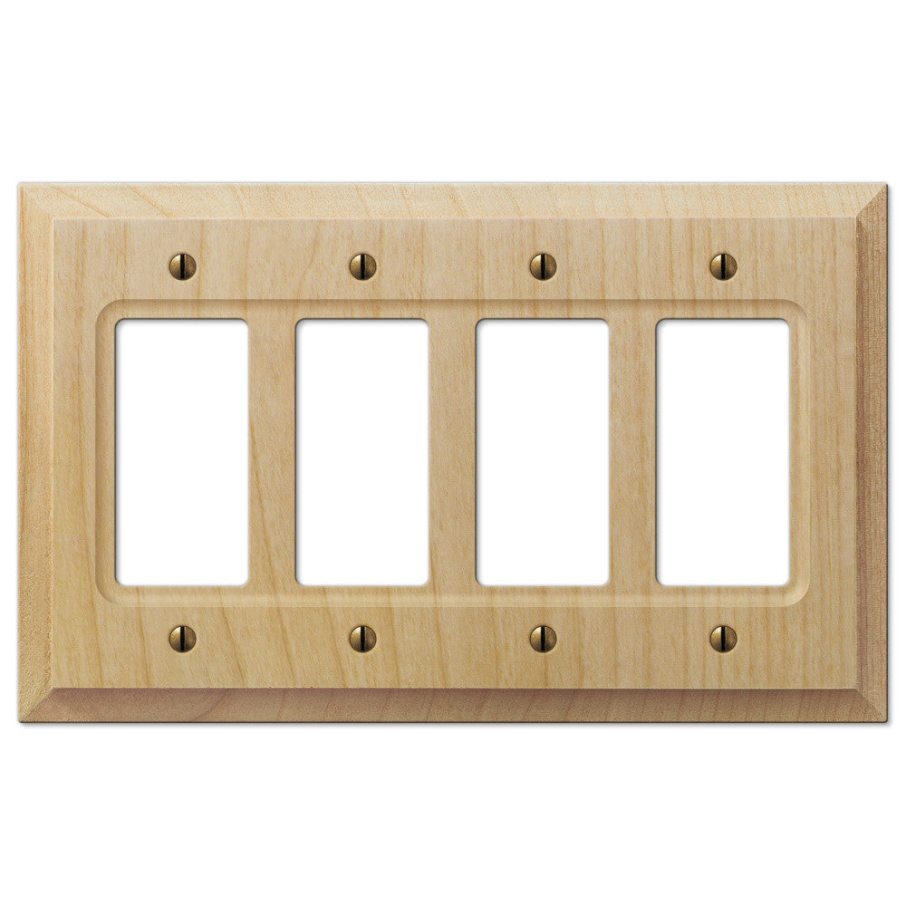 Baker Unfinished Alder Wood - 4 Rocker Wallplate - Wallplate Warehouse