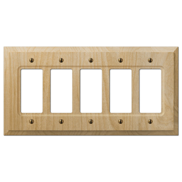 Baker Unfinished Alder Wood - 5 Rocker Wallplate - Wallplate Warehouse