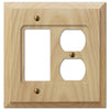 Baker Unfinished Alder Wood - 1 Rocker / 1 Duplex Outlet Wallplate - Wallplate Warehouse