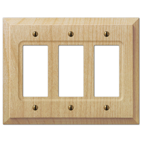 Baker Unfinished Alder Wood - 3 Rocker Wallplate - Wallplate Warehouse