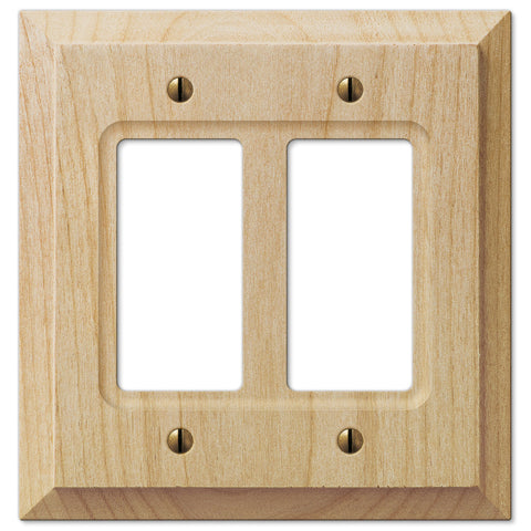 Baker Unfinished Alder Wood - 2 Rocker Wallplate - Wallplate Warehouse