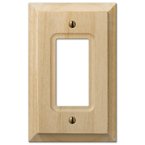 Baker Unfinished Alder Wood - 1 Rocker Wallplate - Wallplate Warehouse