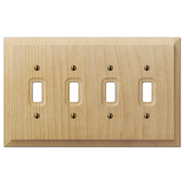Baker Unfinished Alder Wood - 4 Toggle Wallplate - Wallplate Warehouse