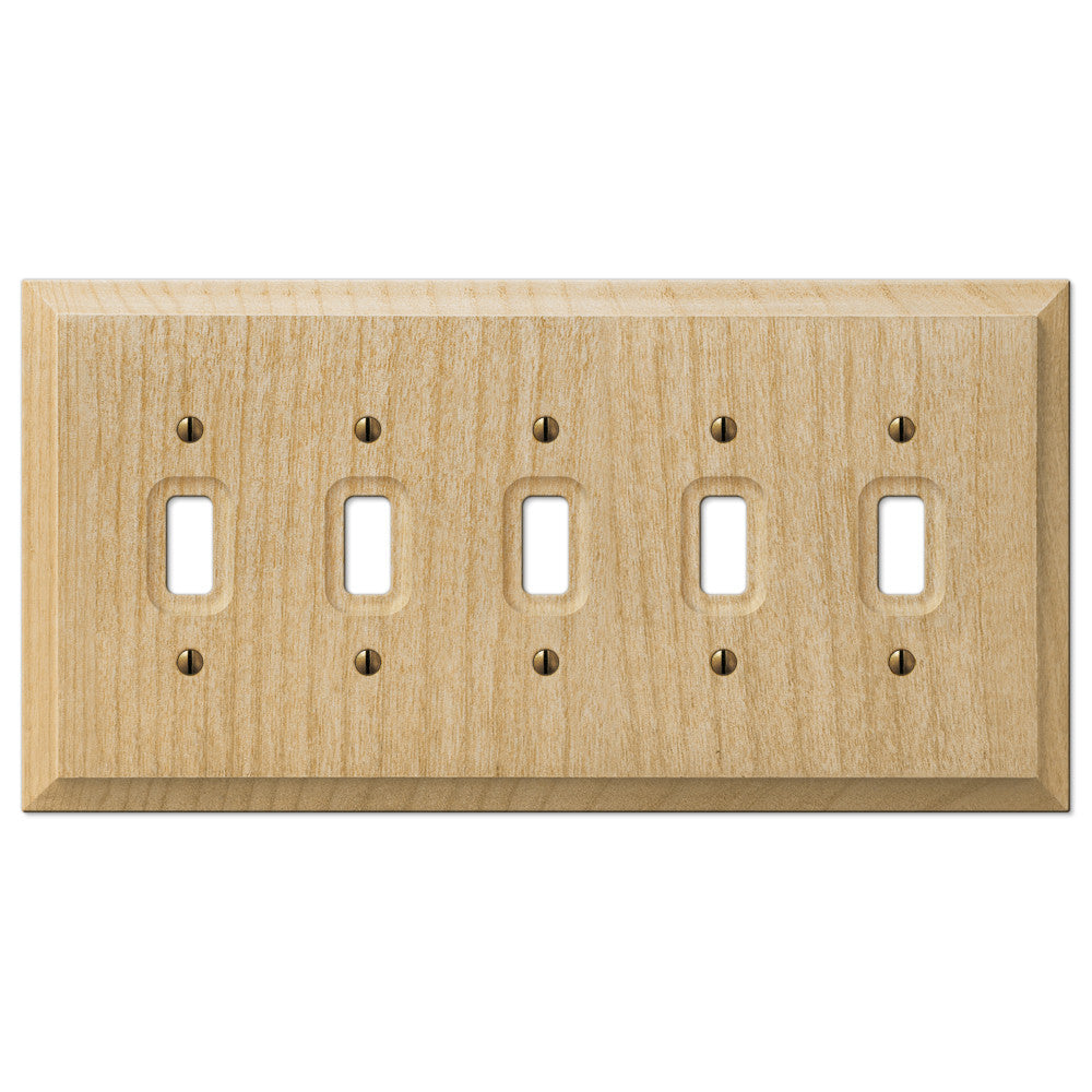 Baker Unfinished Alder Wood - 5 Toggle Wallplate - Wallplate Warehouse