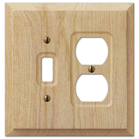 Baker Unfinished Alder Wood - 1 Toggle / 1 Duplex Outlet Wallplate - Wallplate Warehouse