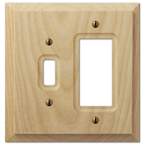 Baker Unfinished Alder Wood - 1 Toggle / 1 Rocker Wallplate - Wallplate Warehouse