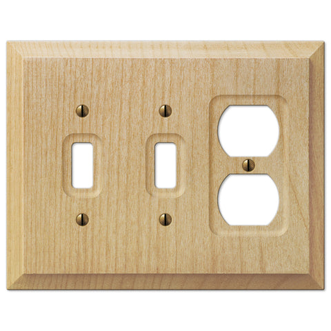 Baker Unfinished Alder Wood - 2 Toggle / 1 Duplex Outlet Wallplate - Wallplate Warehouse