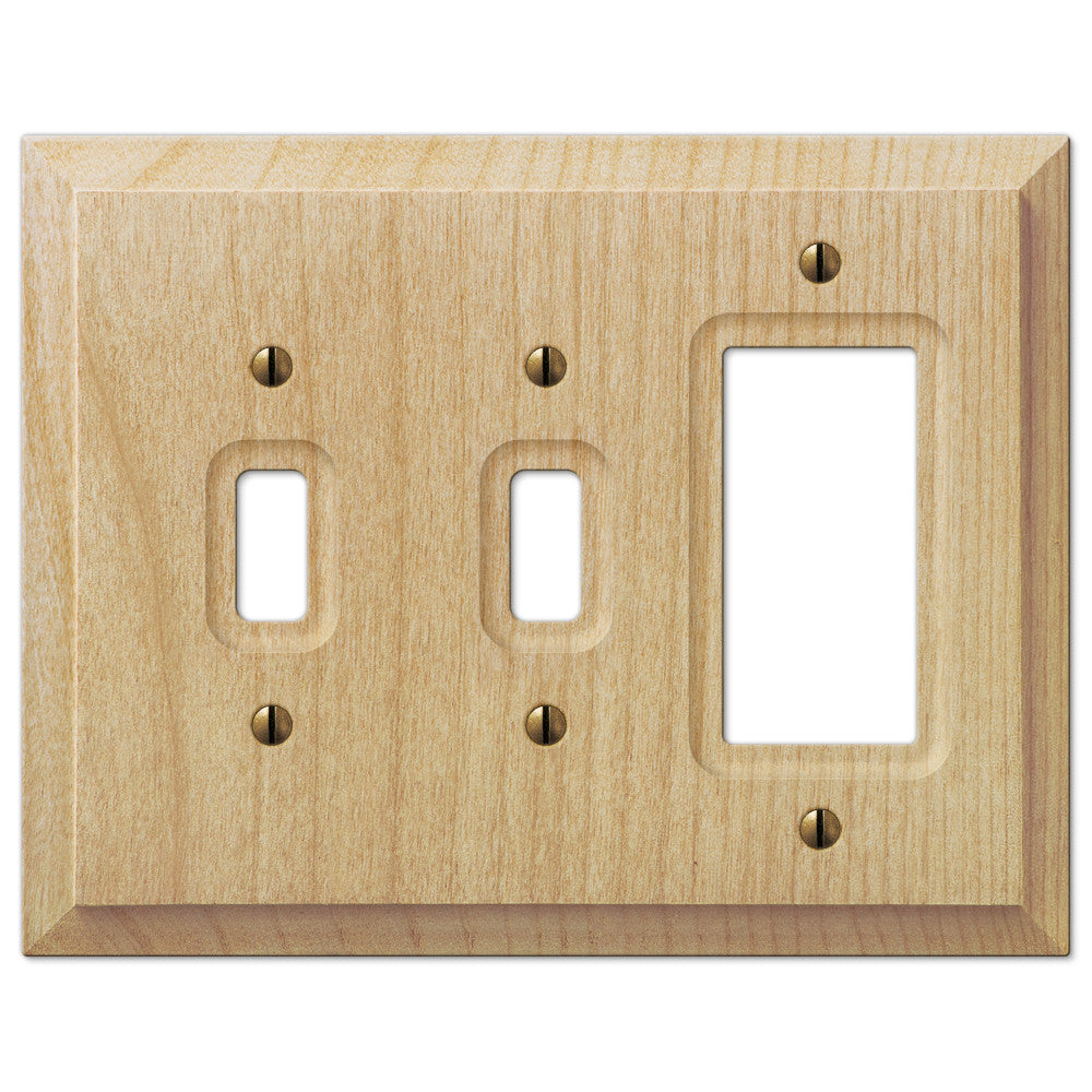 Baker Unfinished Alder Wood - 2 Toggle / 1 Rocker Wallplate - Wallplate Warehouse