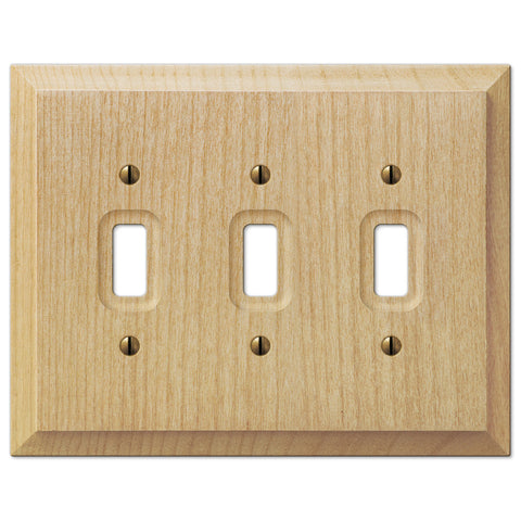 Baker Unfinished Alder Wood - 3 Toggle Wallplate - Wallplate Warehouse